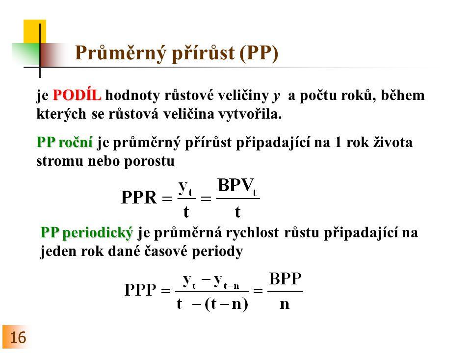 Průměrný přírůst (PP) je PODÍL hodnoty růstové veličiny y a počtu roků, během kterých se růstová veličina vytvořila.