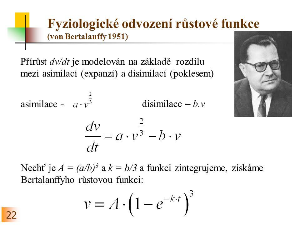 Fyziologické odvození růstové funkce (von Bertalanffy 1951)