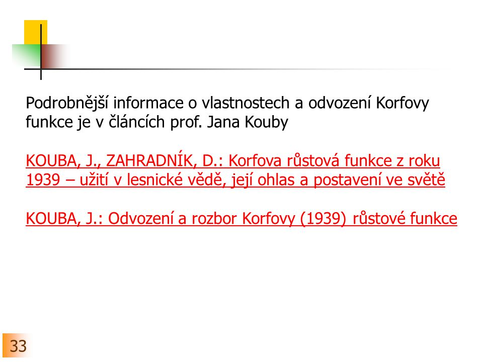 Podrobnější informace o vlastnostech a odvození Korfovy funkce je v článcích prof. Jana Kouby