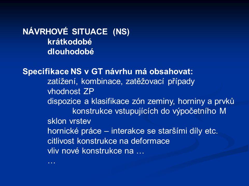 NÁVRHOVÉ SITUACE (NS) krátkodobé. dlouhodobé. Specifikace NS v GT návrhu má obsahovat: zatížení, kombinace, zatěžovací případy.