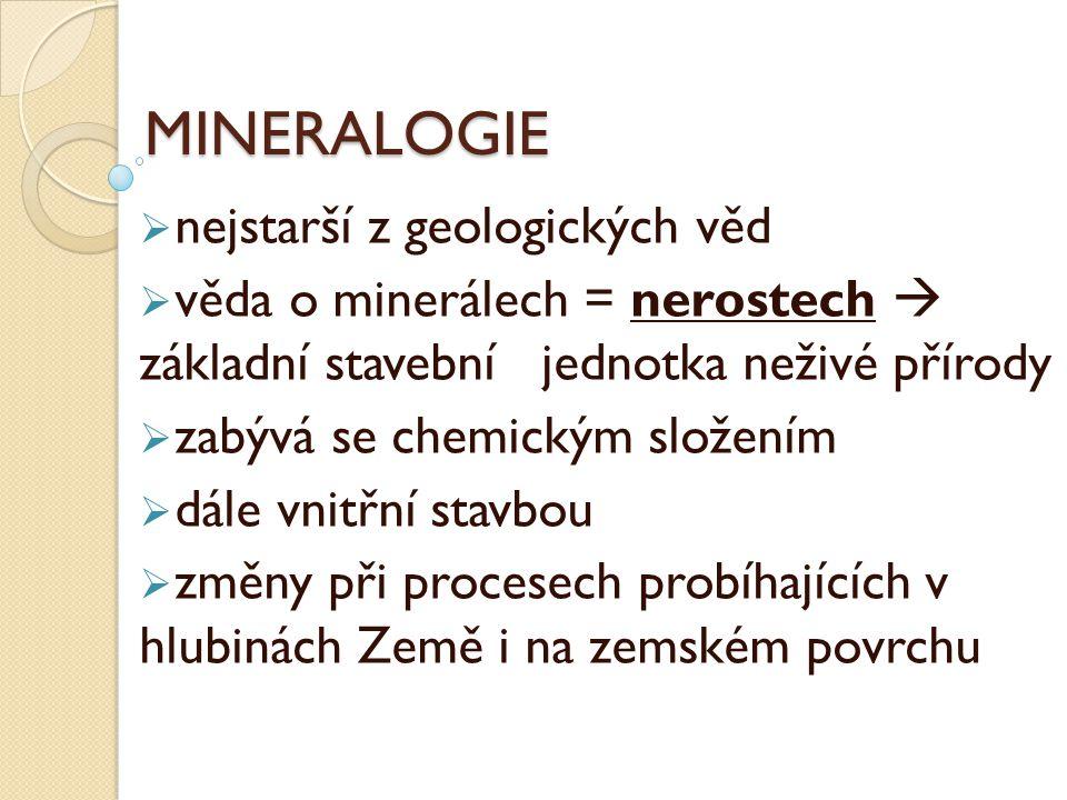 MINERALOGIE nejstarší z geologických věd