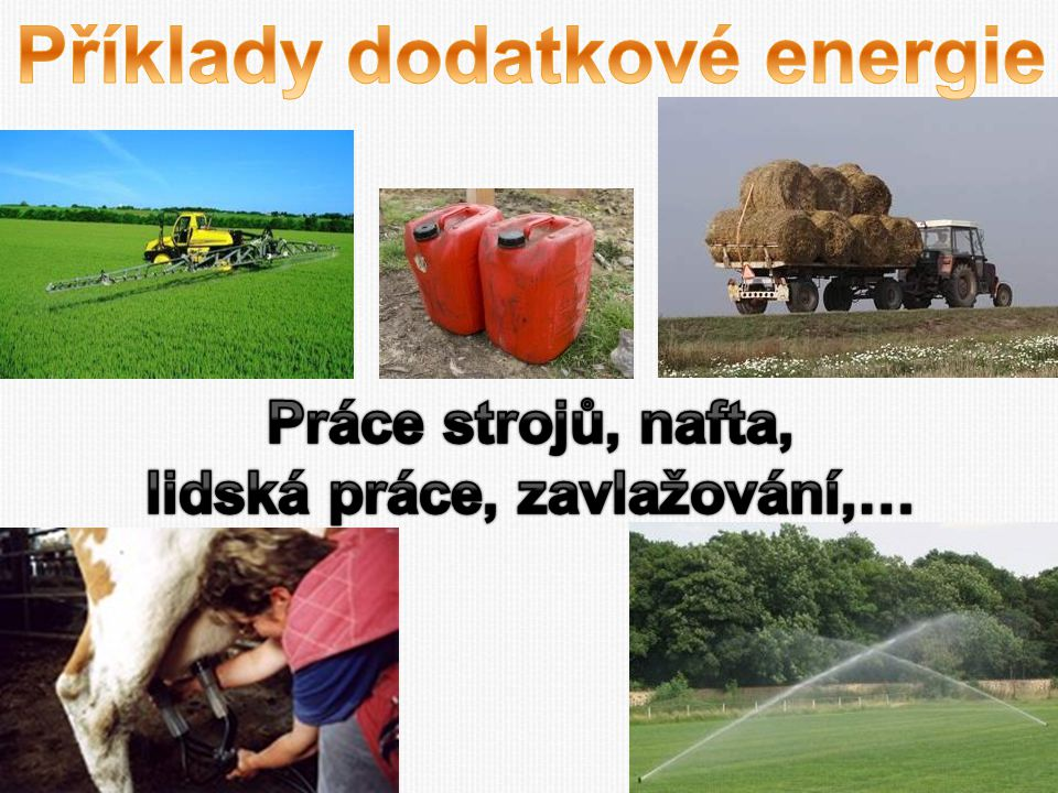 Příklady dodatkové energie