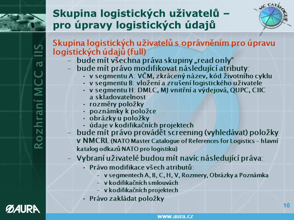 Skupina logistických uživatelů – pro úpravy logistických údajů
