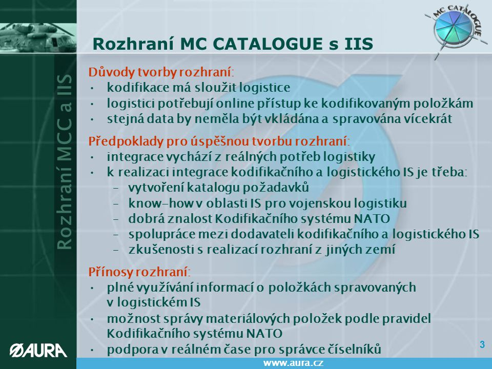 Rozhraní MC CATALOGUE s IIS