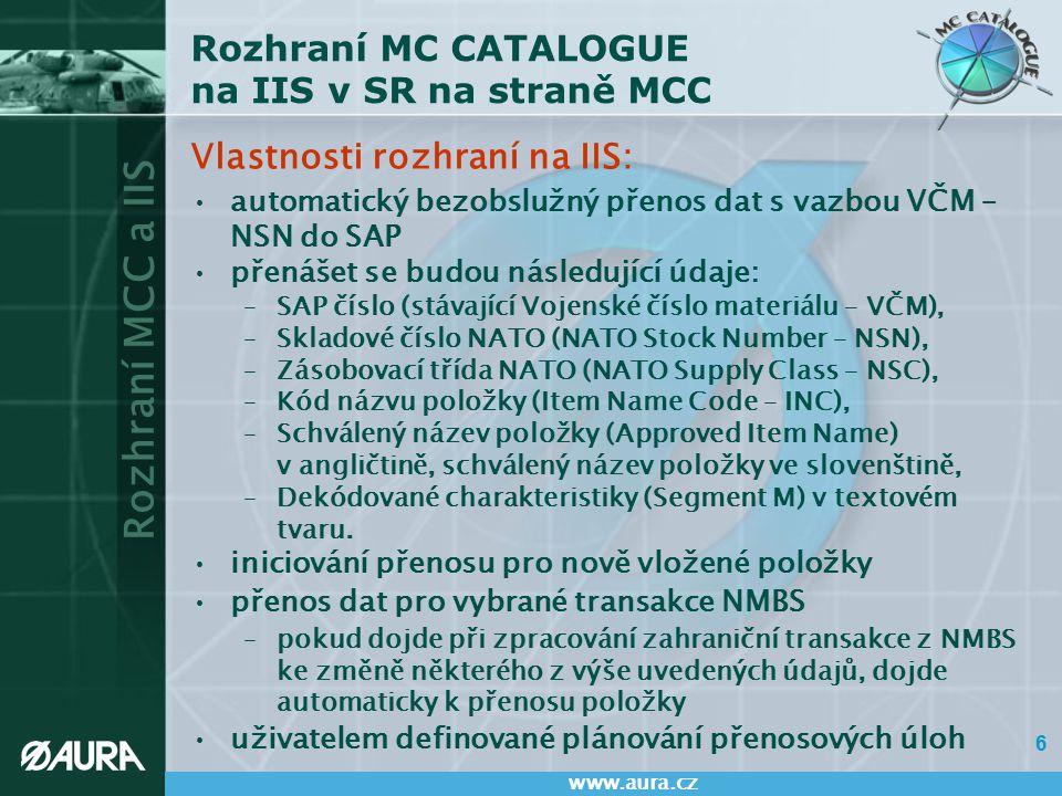 Rozhraní MC CATALOGUE na IIS v SR na straně MCC
