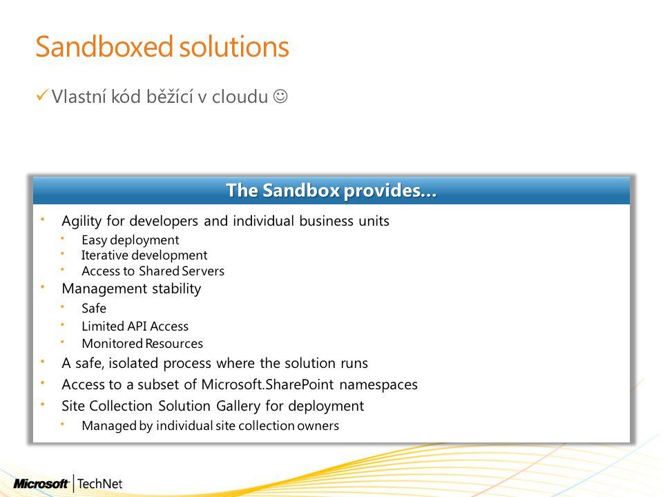 Sandboxed solutions Vlastní kód běžící v cloudu 