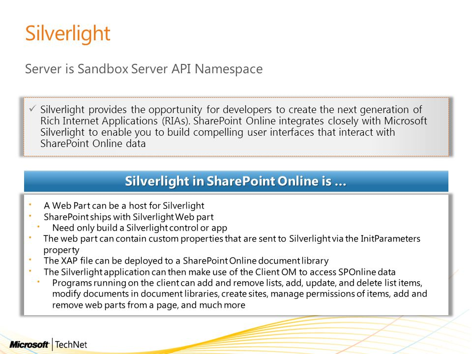 Silverlight in SharePoint Online is …