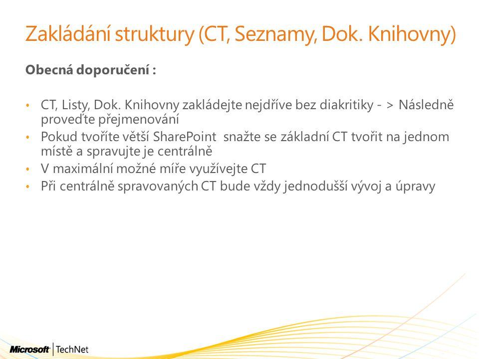 Zakládání struktury (CT, Seznamy, Dok. Knihovny)