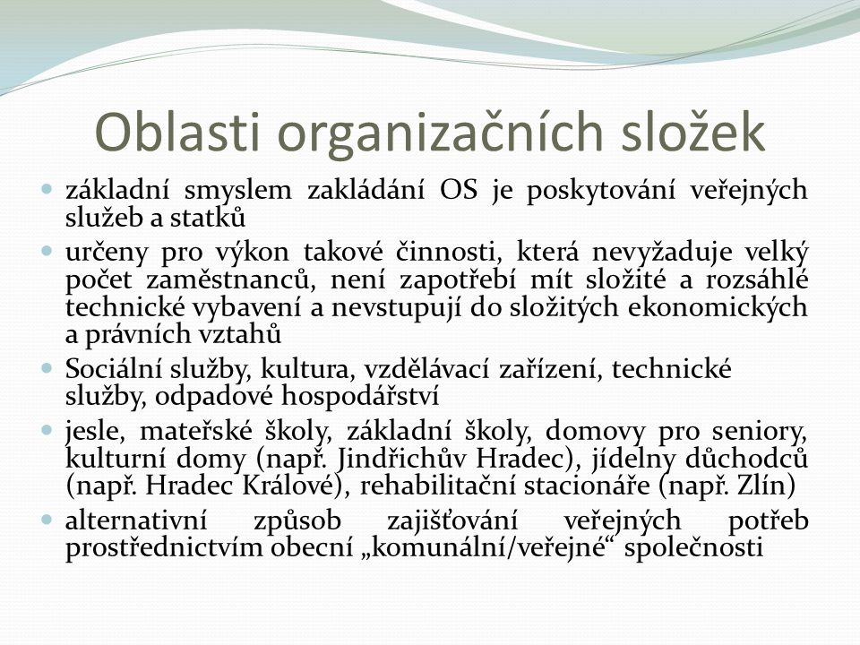 Oblasti organizačních složek