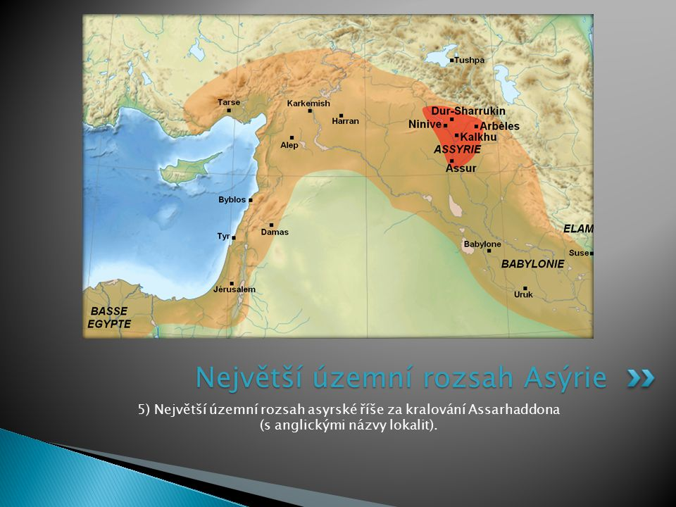 Největší územní rozsah Asýrie