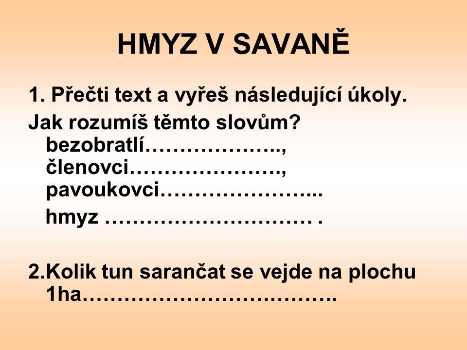 HMYZ V SAVANĚ 1. Přečti text a vyřeš následující úkoly.
