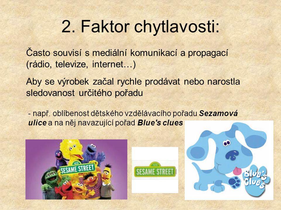 2. Faktor chytlavosti: Často souvisí s mediální komunikací a propagací (rádio, televize, internet…)