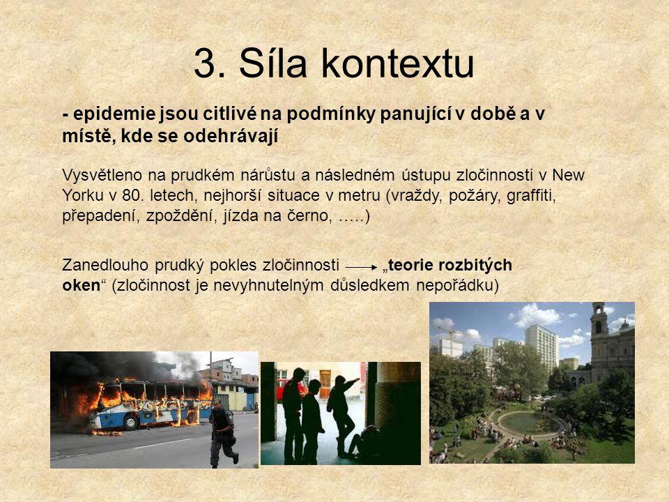 3. Síla kontextu - epidemie jsou citlivé na podmínky panující v době a v místě, kde se odehrávají.