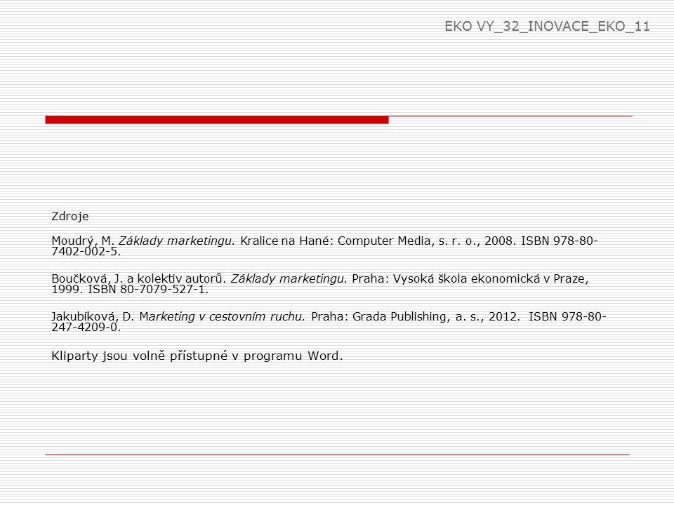 EKO VY_32_INOVACE_EKO_11 Zdroje. Moudrý, M. Základy marketingu. Kralice na Hané: Computer Media, s. r. o., 2008. ISBN 978-80-7402-002-5.