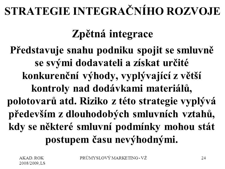 STRATEGIE INTEGRAČNÍHO ROZVOJE Zpětná integrace