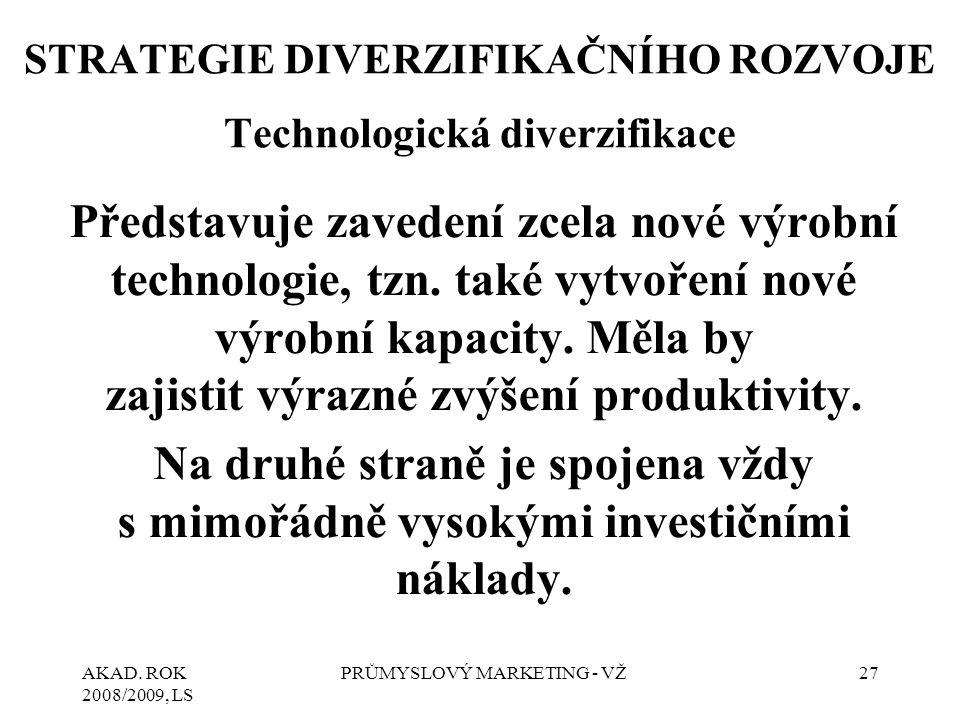 STRATEGIE DIVERZIFIKAČNÍHO ROZVOJE Technologická diverzifikace