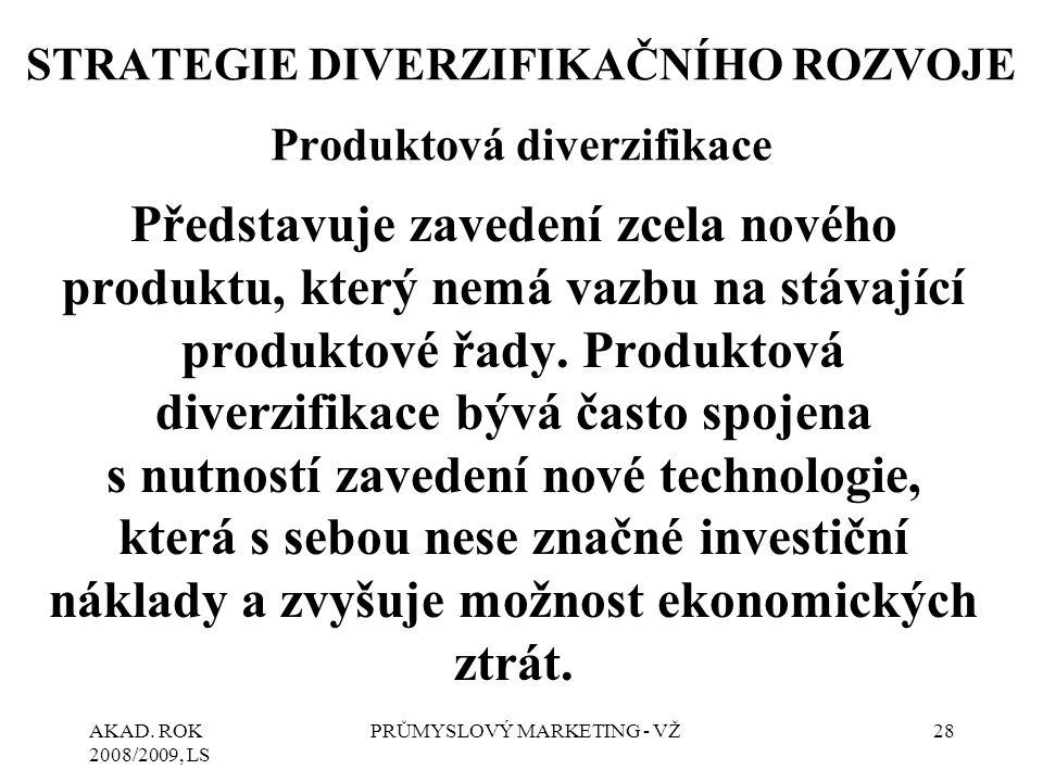 STRATEGIE DIVERZIFIKAČNÍHO ROZVOJE Produktová diverzifikace