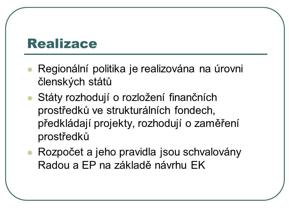 Realizace Regionální politika je realizována na úrovni členských států