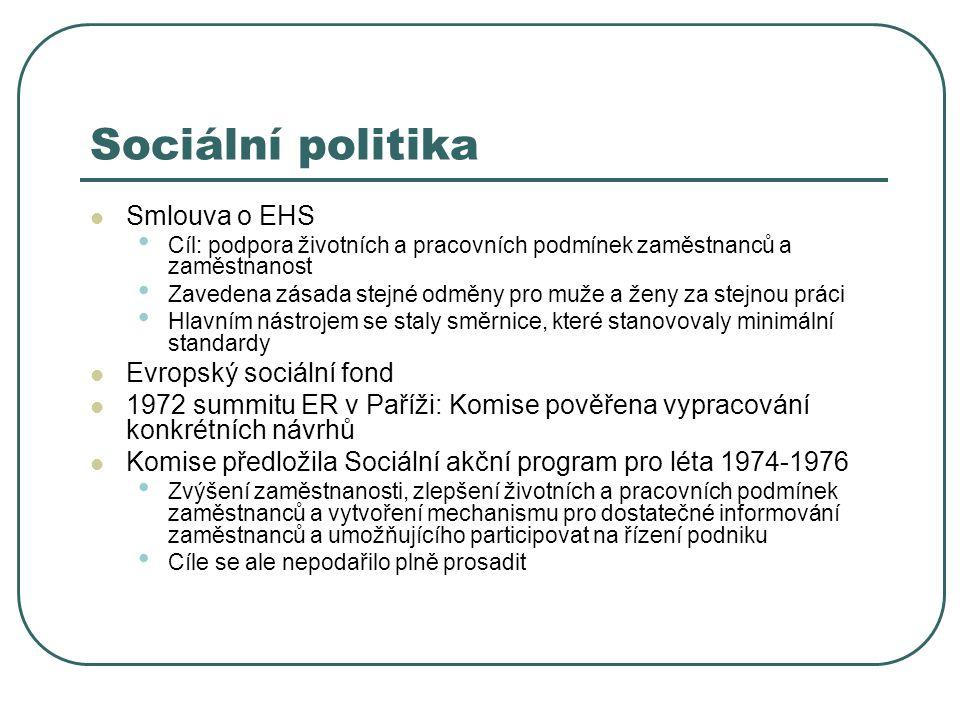 Sociální politika Smlouva o EHS Evropský sociální fond