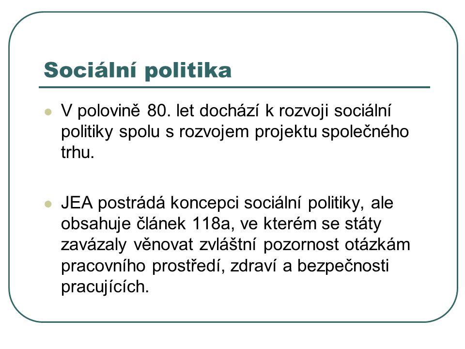Sociální politika V polovině 80. let dochází k rozvoji sociální politiky spolu s rozvojem projektu společného trhu.