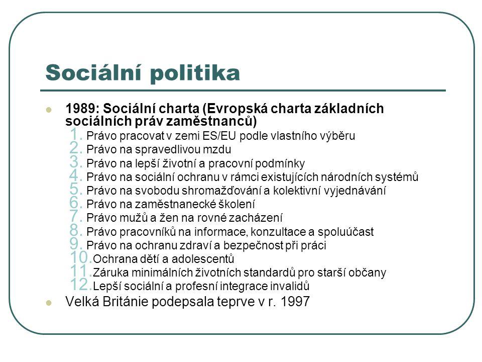 Sociální politika 1989: Sociální charta (Evropská charta základních sociálních práv zaměstnanců) Právo pracovat v zemi ES/EU podle vlastního výběru.