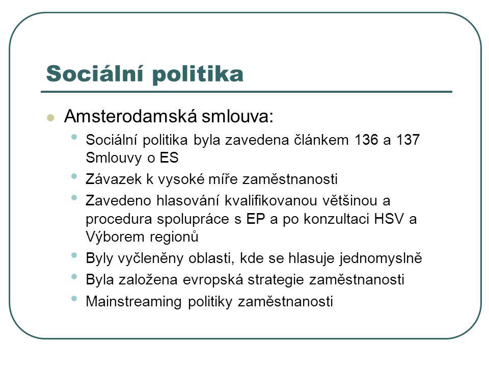 Sociální politika Amsterodamská smlouva:
