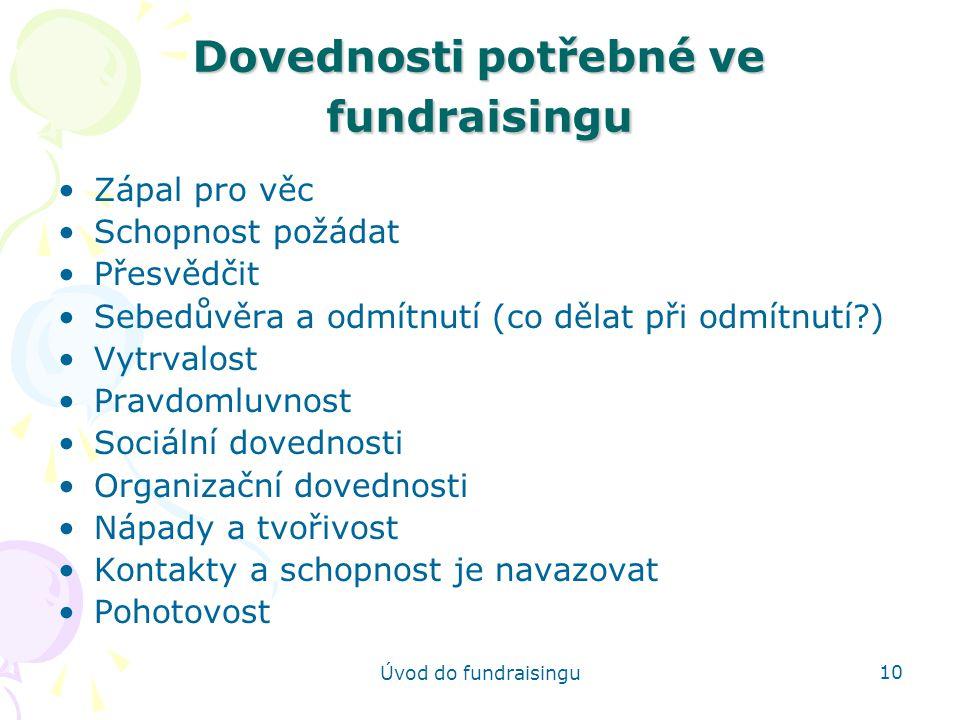 Dovednosti potřebné ve fundraisingu