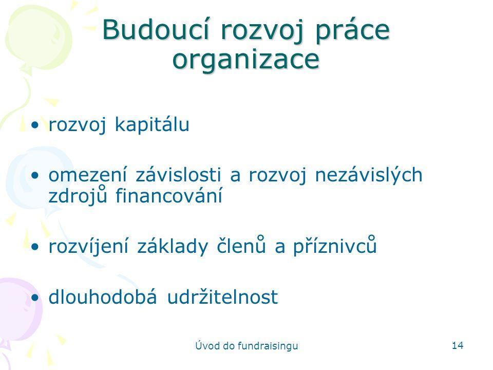 Budoucí rozvoj práce organizace