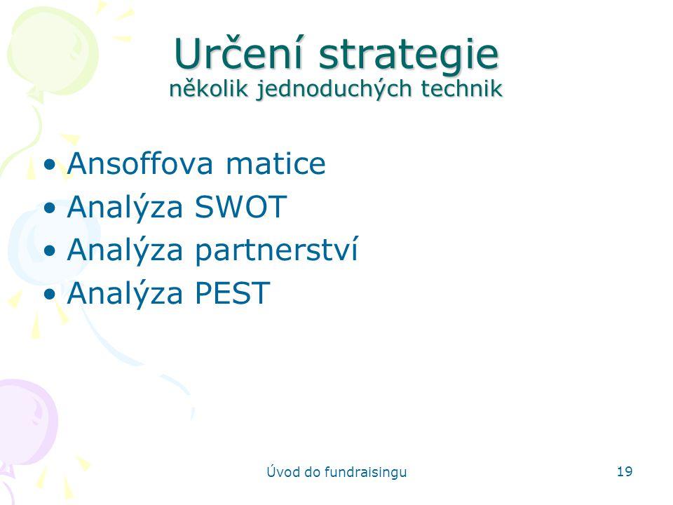 Určení strategie několik jednoduchých technik