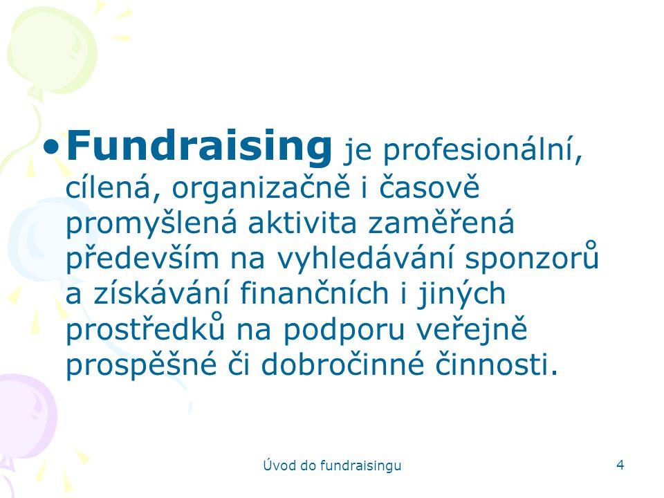Fundraising je profesionální, cílená, organizačně i časově promyšlená aktivita zaměřená především na vyhledávání sponzorů a získávání finančních i jiných prostředků na podporu veřejně prospěšné či dobročinné činnosti.