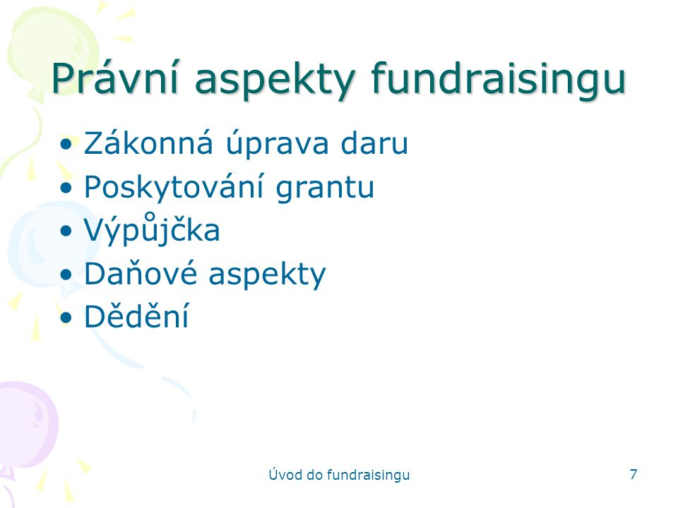 Právní aspekty fundraisingu