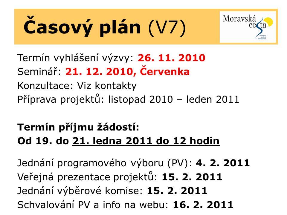 Časový plán (V7) Termín vyhlášení výzvy: 26. 11. 2010