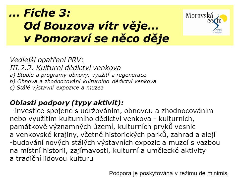 … Fiche 3: Od Bouzova vítr věje… v Pomoraví se něco děje