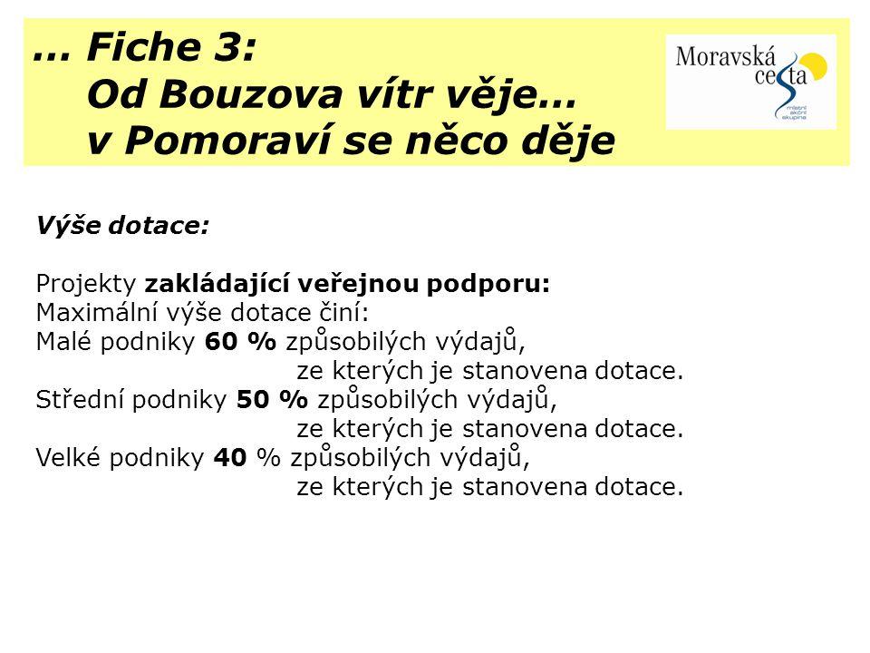 … Fiche 3: Od Bouzova vítr věje… v Pomoraví se něco děje Výše dotace:
