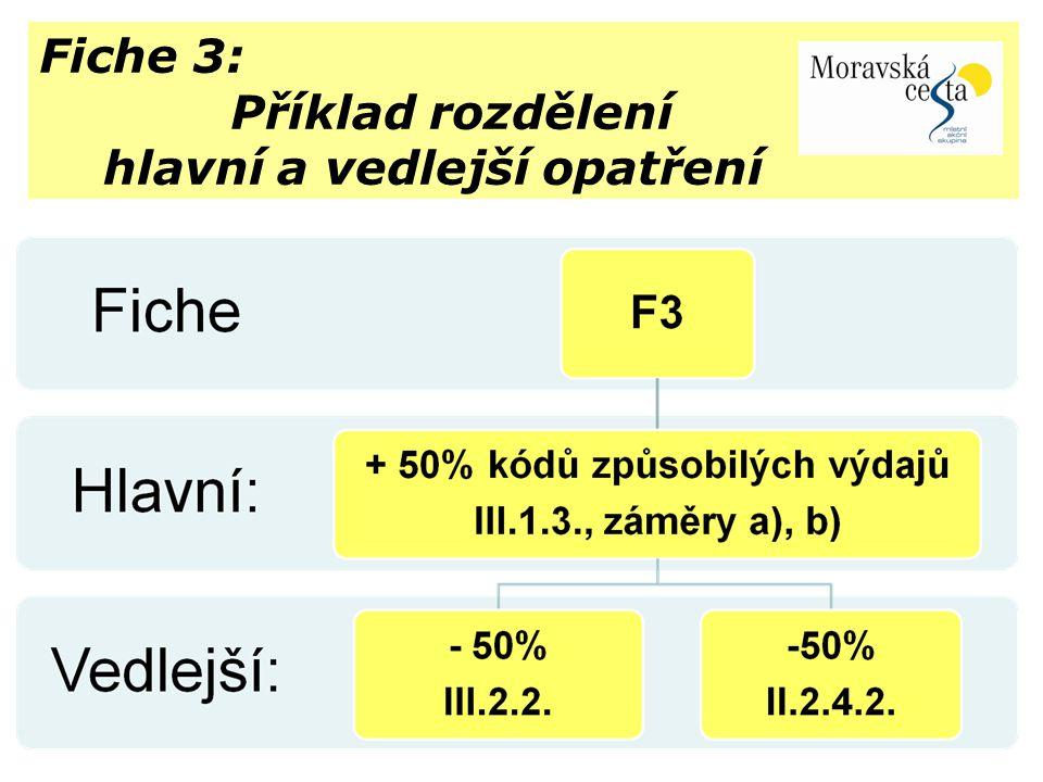 Fiche 3: Příklad rozdělení hlavní a vedlejší opatření