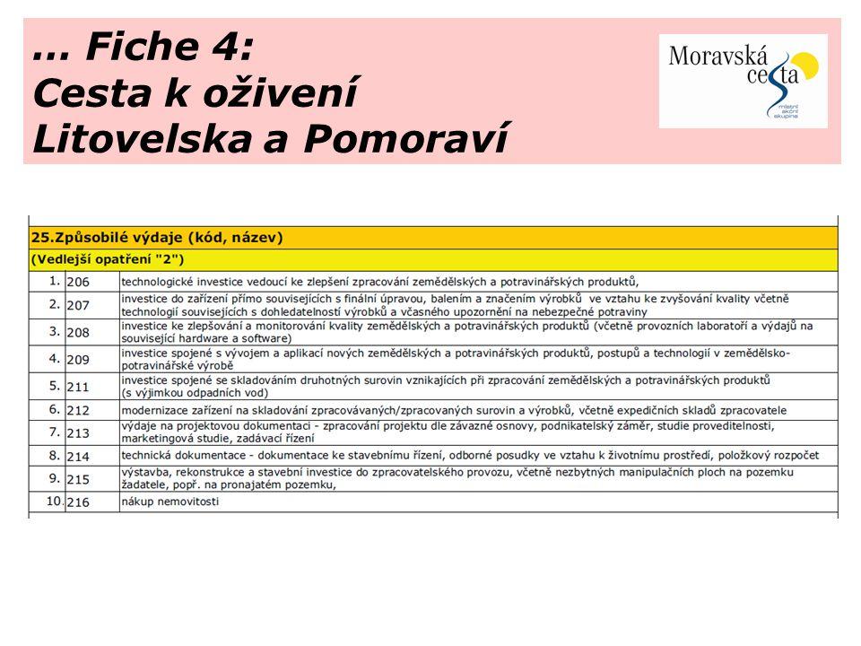 … Fiche 4: Cesta k oživení Litovelska a Pomoraví