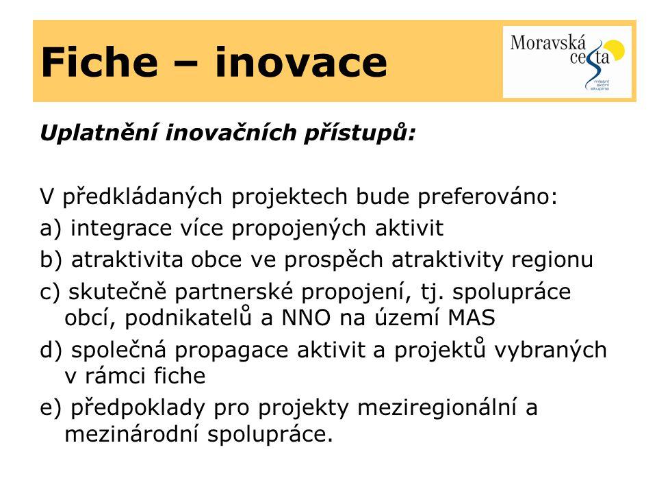 Fiche – inovace Uplatnění inovačních přístupů: