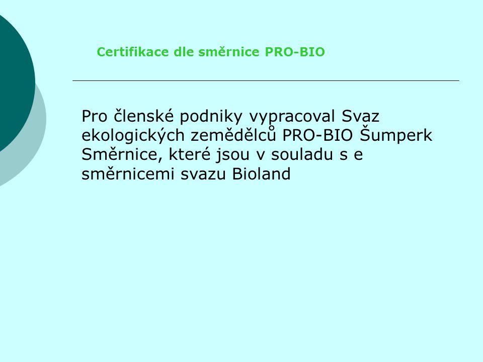 Certifikace dle směrnice PRO-BIO
