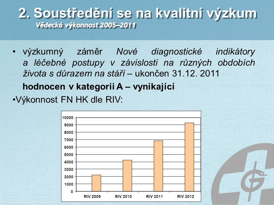 2. Soustředění se na kvalitní výzkum Vědecká výkonnost 2005–2011