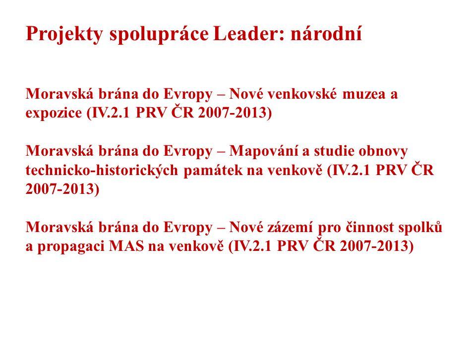 Projekty spolupráce Leader: národní