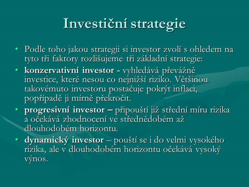 Investiční strategie Podle toho jakou strategii si investor zvolí s ohledem na tyto tři faktory rozlišujeme tři základní strategie:
