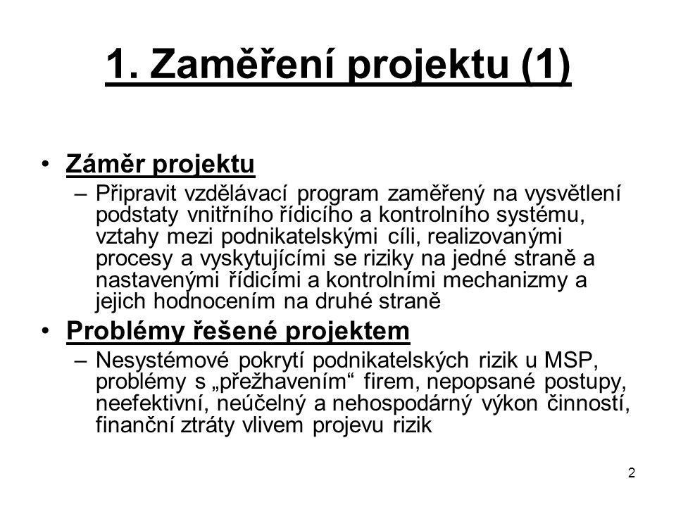 1. Zaměření projektu (1) Záměr projektu Problémy řešené projektem