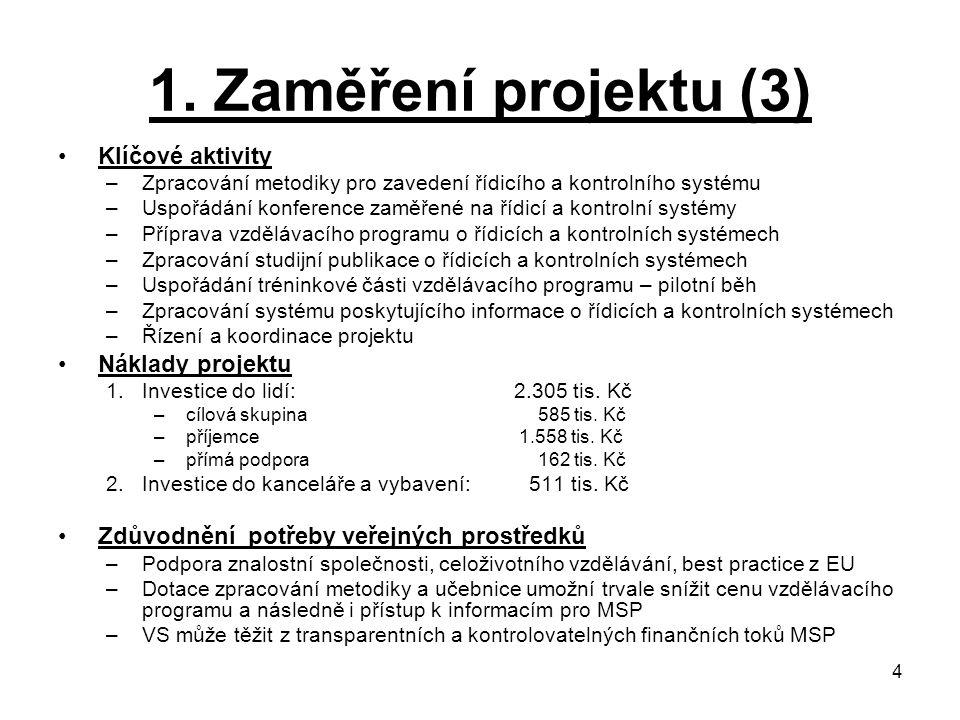 1. Zaměření projektu (3) Klíčové aktivity Náklady projektu