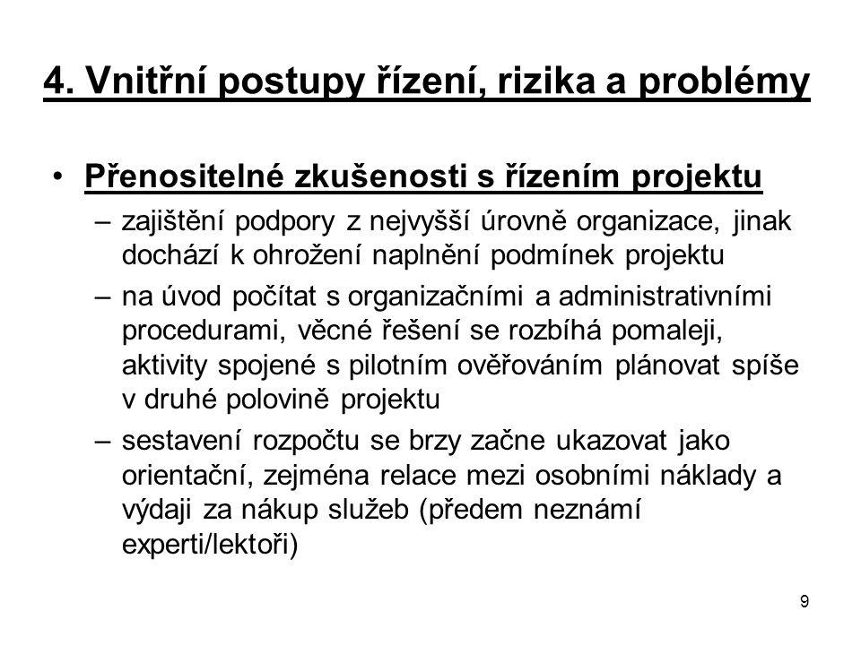 4. Vnitřní postupy řízení, rizika a problémy