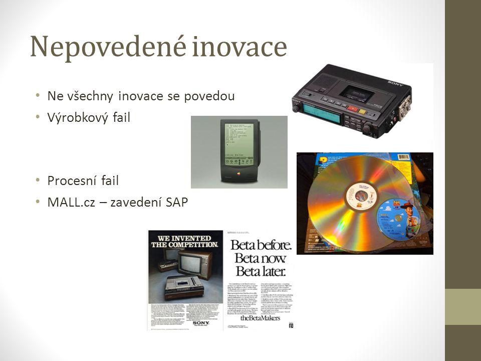 Nepovedené inovace Ne všechny inovace se povedou Výrobkový fail