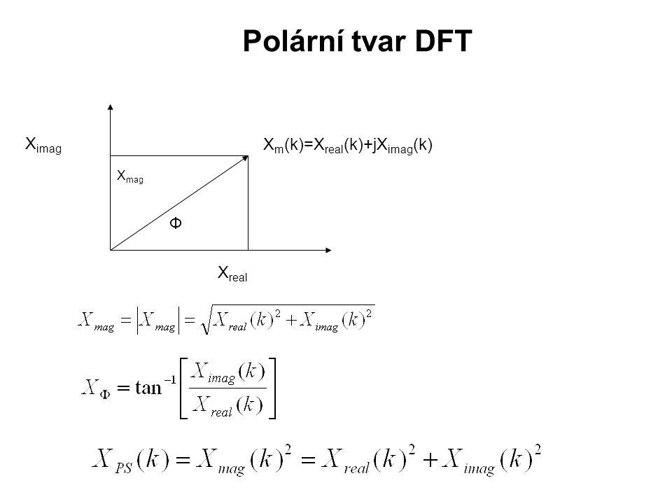 Polární tvar DFT Xreal Ximag Ф Xmag Xm(k)=Xreal(k)+jXimag(k)
