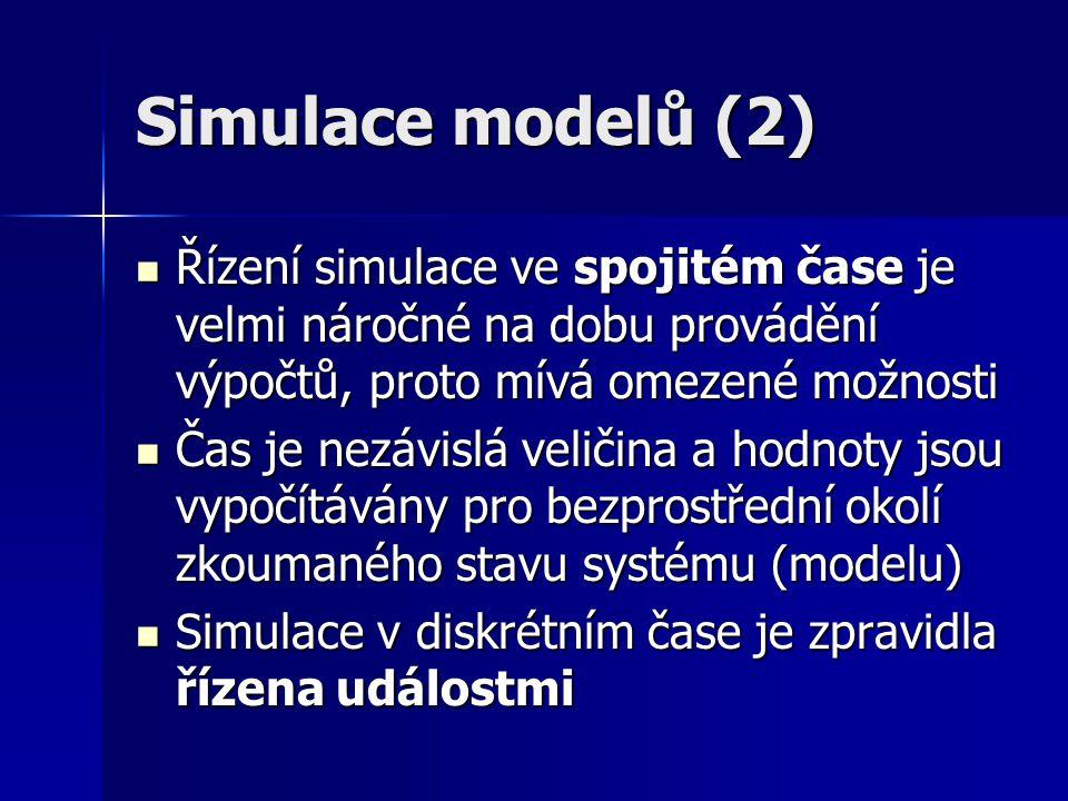 Simulace modelů (2) Řízení simulace ve spojitém čase je velmi náročné na dobu provádění výpočtů, proto mívá omezené možnosti.