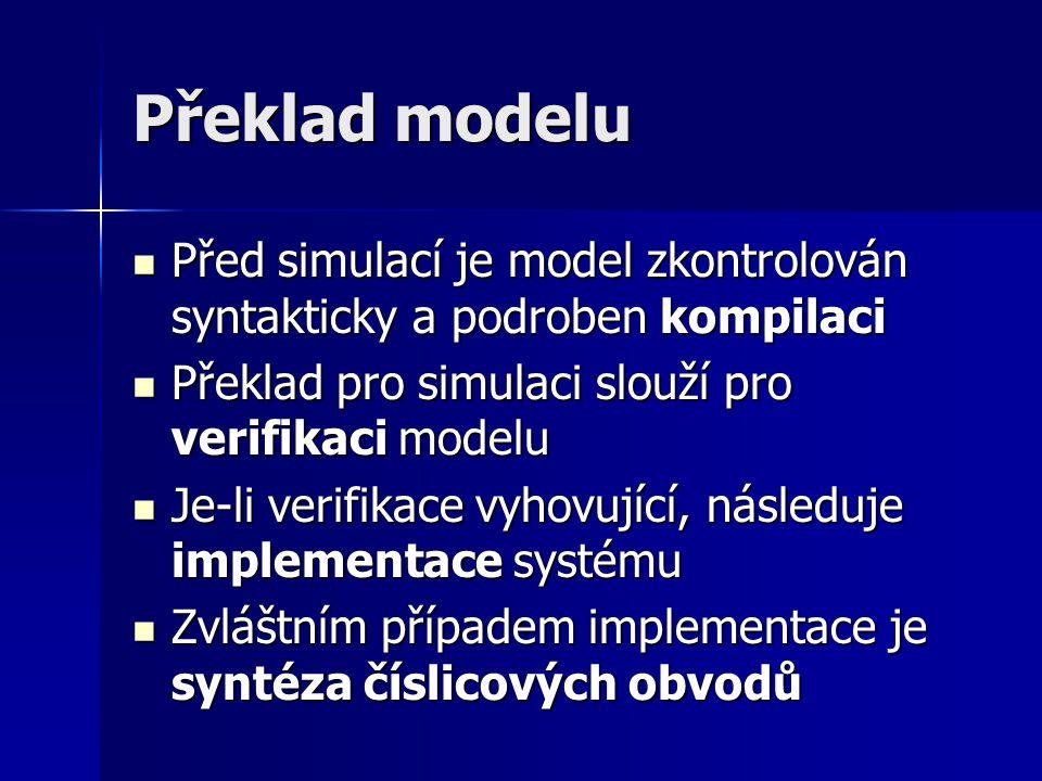 Překlad modelu Před simulací je model zkontrolován syntakticky a podroben kompilaci. Překlad pro simulaci slouží pro verifikaci modelu.