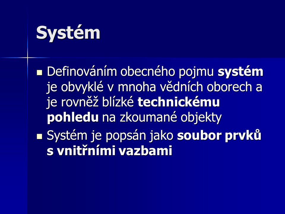 Systém Definováním obecného pojmu systém je obvyklé v mnoha vědních oborech a je rovněž blízké technickému pohledu na zkoumané objekty.