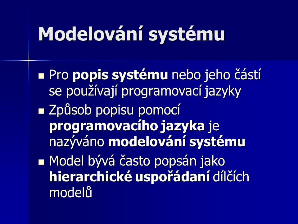Modelování systému Pro popis systému nebo jeho částí se používají programovací jazyky.
